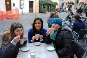 "My roommates Erika, Veronica, and I enjoying our ""hot chocolates."""