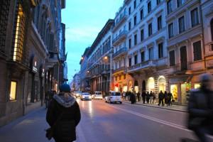 Walking down main street Via del Corso.