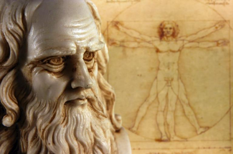 "Da Vinci's famous ""Vitruvian Man"" depicts precise human proportions"
