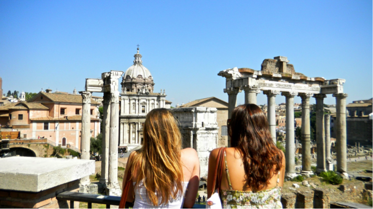 John Cabot University students visit the Roman Forum