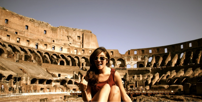 A John Cabot University student visits the Colosseum