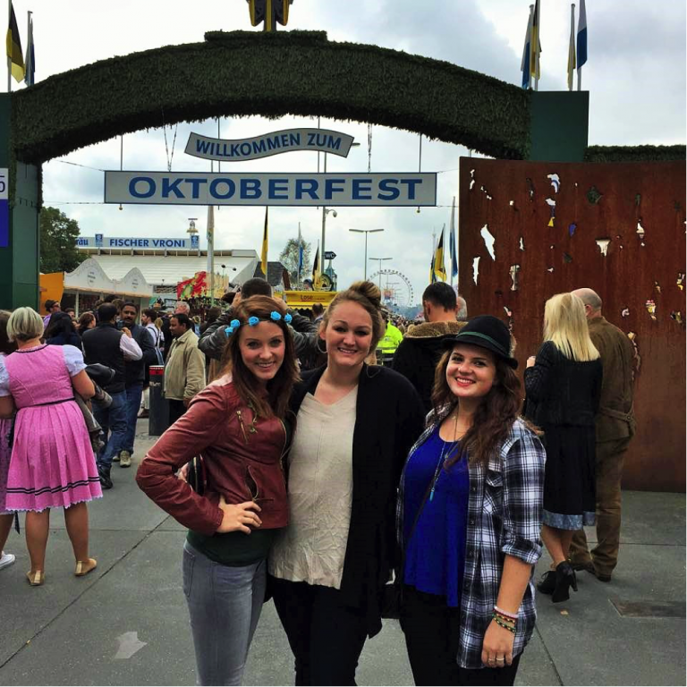 John Cabot University study abroad students visit Oktoberfest in Munich.