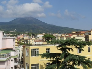Mt. Vesuvius view from our apartment