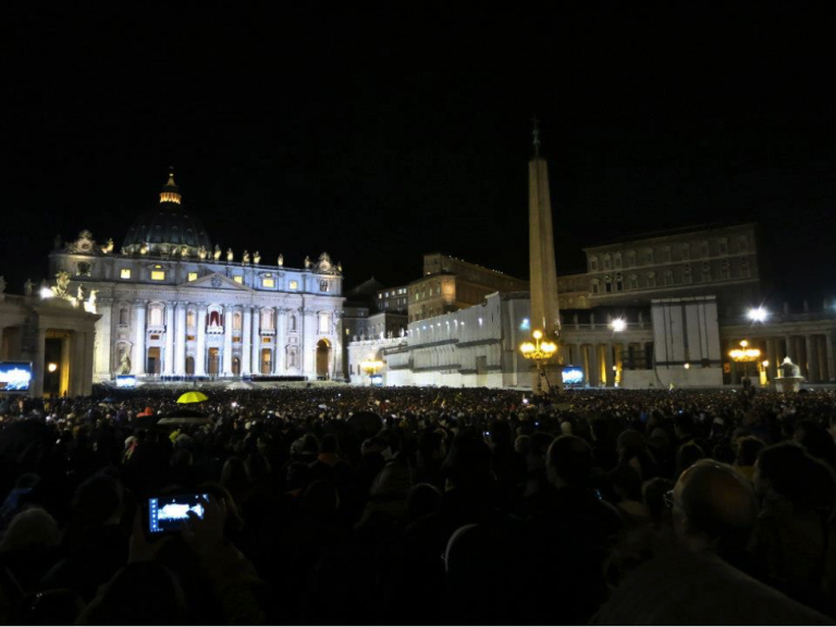 JCU students were among those who gathered at St. Peter's Cathedral in the Vatican to see the inauguration of Pope Francis.