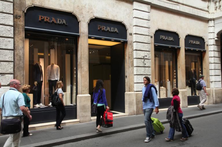 A Prada boutique in Rome, Italy