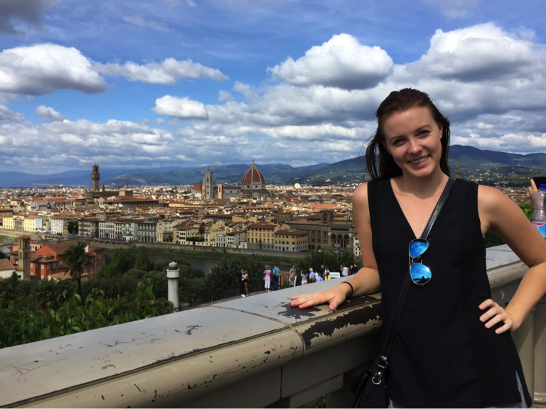 A John Cabot University student enjoys beautiful views of Florence