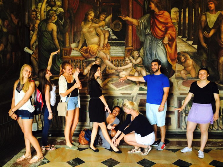 John Cabot University students in Rome pose with another beautiful example of Renaissance art