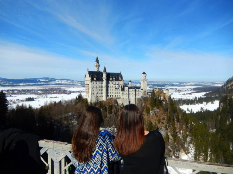 JCU Students visit the fairy tale Neuschwanstein Castle in Germany during a weekend trip abroad.