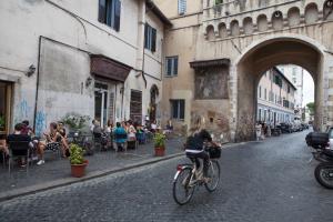 biking in Trastevere