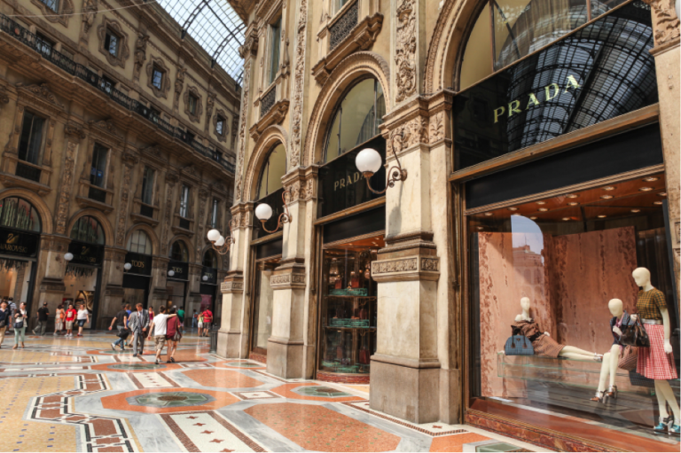 The Prada store in Milan, just a few hours away from Rome by train