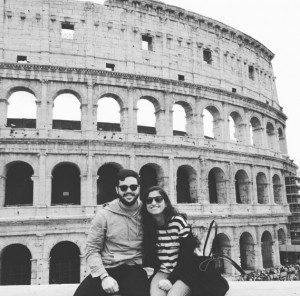 study abroad students at the Colosseum in Rome
