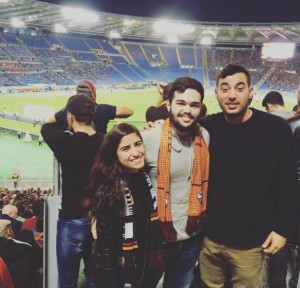 study abroad students at a Roma game
