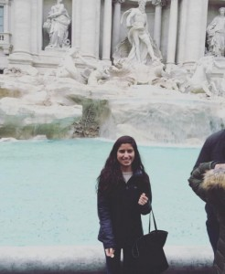 study abroad student at Trevi Fountain