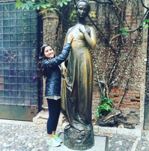 Study abroad student in Verona at Juliet's House