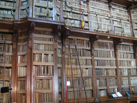 A wall of historical volumes and manuscripts at the Biblioteca Angelica