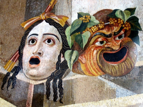 A depiction of ancient Rome's tragic and comic masks from Hadrian's Villa in Tivoli, Italy