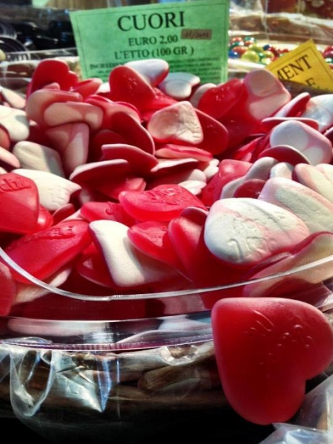 Valentine candies on display near JCU's campus in Rome's historic Trastevere neighborhood