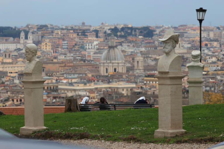 The Gianicolo Hill overlooks the beautiful domes and rooftops of Rome