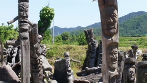 Wood-carved masks at Hahoe Folk Village.