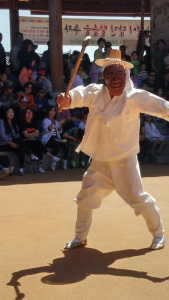 character of the Butcher during the Hahoe Folk Village's traditional masked dance.