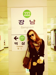 Gangnam subway station, South Korea, going global program, John cabot exchange, students in Seoul, study abroad