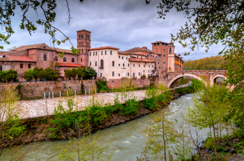 Trastevere is located on the west bank of the Tiber River