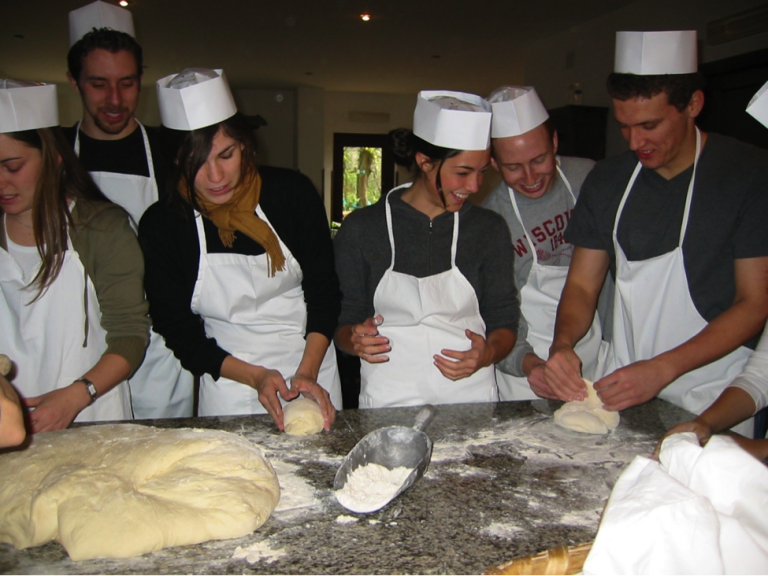 Students learn how to cook fresh pasta and other Italian foods through JCU cooking classes.