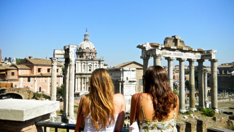 John Cabot University students visit the Roman Forum