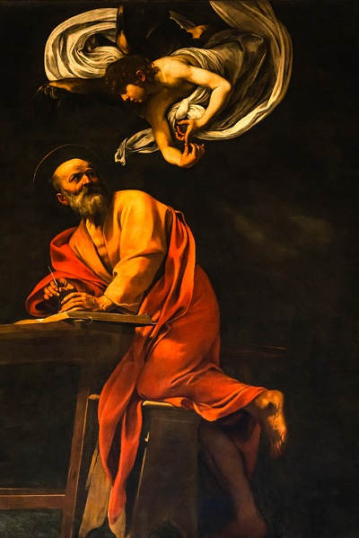 One of Caravaggio's most well-known paintings is the Inspiration of Saint Matthew