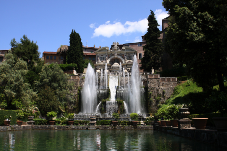 One of Villa D'Este's stunning fountains, Ruins of Hadrian's Villa,  historical sites in Rome, UNESCO World Heritage Sites to Visit While in Rome, JCU student experiences, study abroad in Rome, JCU weekend trips, study abroad trips