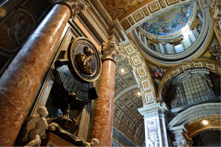 Interior view of St. Peter's Basilica,  Vatican's dome, mosaic, Christ passing St. Peter the keys of heaven, Baroque Art in Rome: A Guide for Art History Lovers, art history in Rome, study abroad in Rome, JCU art history majors