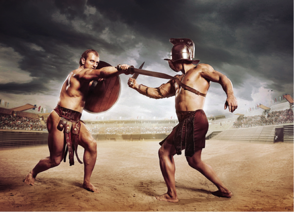 Gladiators fought each other, battled wild animals, and participated in battle re-enactments