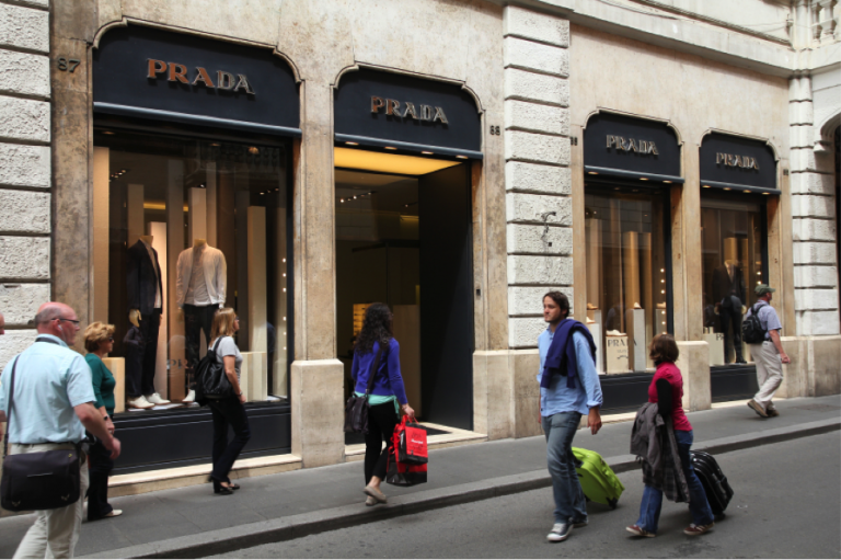 A Prada boutique in Rome, Italy, Fendi, Ferrari & More, Stories Behind Famous Italian Brands, Italian fashion brands, study abroad in Rome, lessons learned from big fashion brands