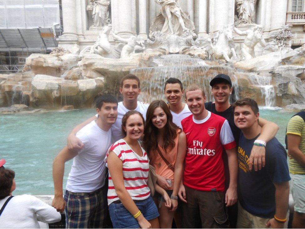 John Cabot University students take in the wonders of the Trevi Fountain