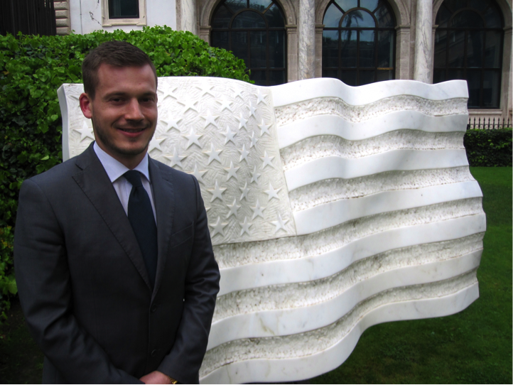 A JCU Student intern poses in front of the American Embassy in Rome, Italy.