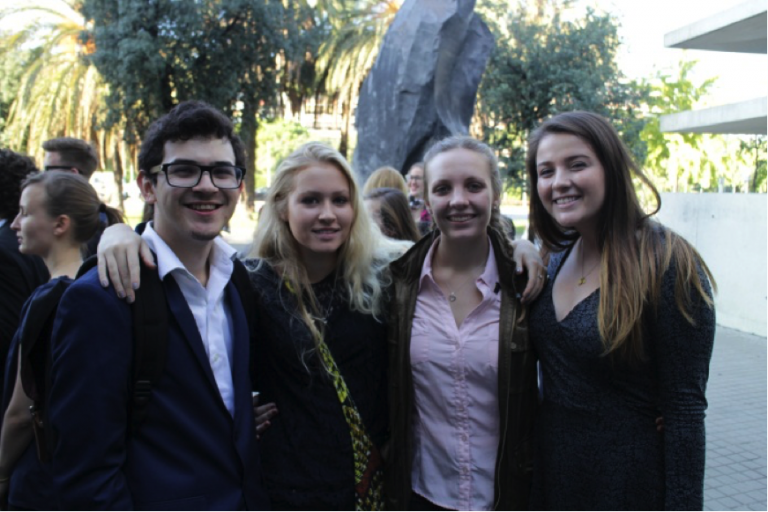 A select group of John Cabot University students enjoy a trip to the 2015 Nobel Peace Summit.
