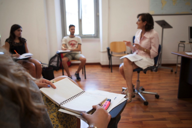 John Cabot University students in class on the Guarini campus