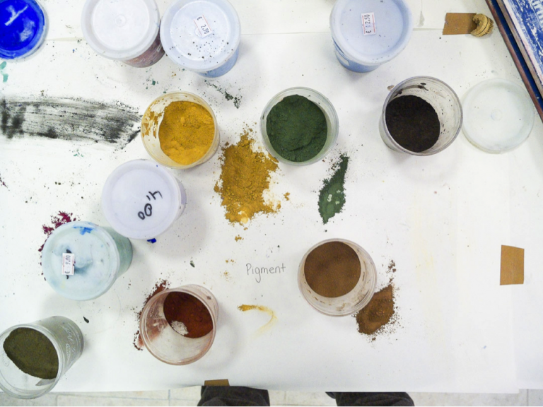 Pigment ready for mixing in JCU's art studio space