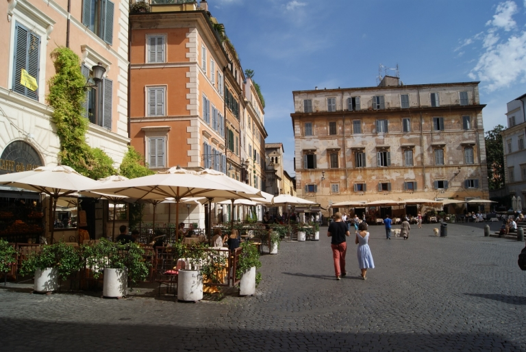 Piazza Santa Maria, in the heart of Trastevere