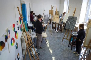 art history in Rome, russian students in Italy, russian students JCU, JCU art classroom