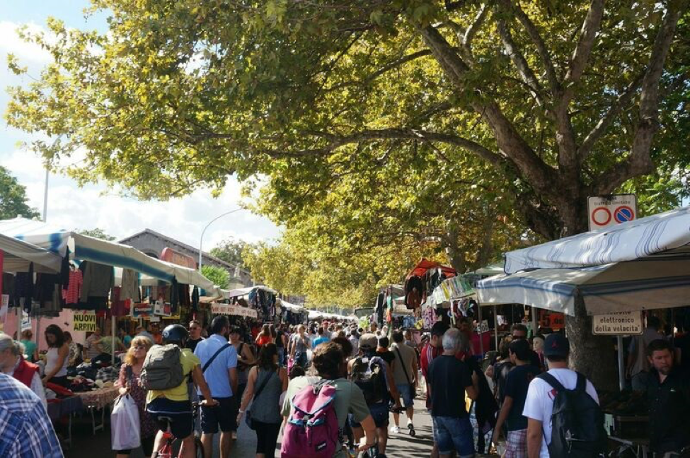 The Porta Portese flea market is a great place to shop, stroll, or bike