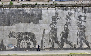 Tiber, graffiti by the Tiber River, William Kentridge, art in rome, study abroad in Rome