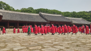 The ceremony in commemoration of the Royal Ancestors performed at Jongmyo Shrine.
