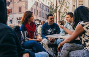 jcu spanish speaking students, students studying, trastevere, rome, john cabot university