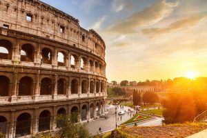Colosseum, Rome, Italy, sunset, travel