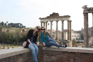first trip to Rome, study abroad in Italy, Roman forum, palatine hill, John cabot student experiences,