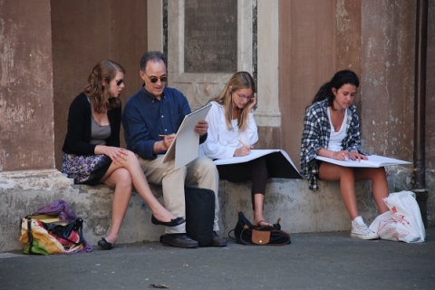 Creating sketches of sites in Rome takes your classroom outside for exploration