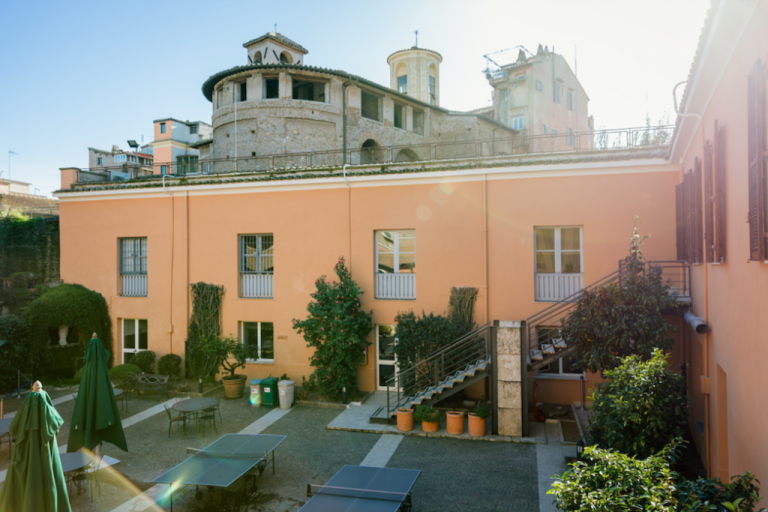 An image of an empty Lemon Tree Courtyard in the Guarini Campus